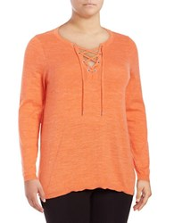 Marc New York V Neck Lace Up Sweater Creamsicle