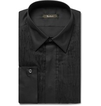 Berluti Black Slim Fit Pleated Cotton And Silk Blend Tuxedo Shirt