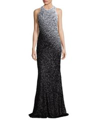 Carmen Marc Valvo Ombre Sequin Gown Ivory Black