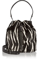 Elizabeth And James Cynnie Zebra Print Calf Hair Bucket Bag