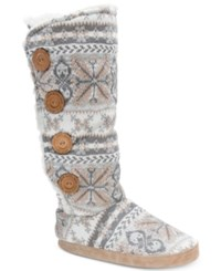 Muk Luks Tall Malena Boot Slippers Light Grey