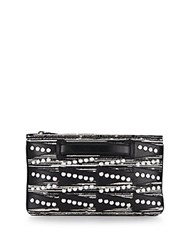 Dannijo Viper Embellished Tweed And Leather Pouch Nero