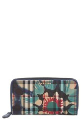 Burberry 'Porter Printed Horseferry' Floral And Check Zip Around Wallet