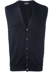 Barba V Neck Knit Vest Blue