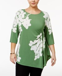 Alfani Plus Size Printed Side Tie Asymmetrical Top Only At Macy's Green Hydranga