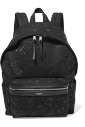 Saint Laurent City Embroidered Leather Trimmed Canvas Backpack Black