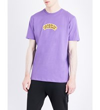 Criminal Damage Crest Logo Print Cotton Jersey T Shirt Purple
