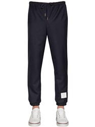 Thom Browne Logo Patch Wool Twill Track Pants Navy