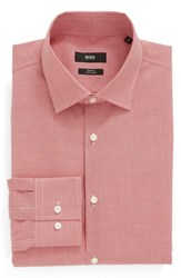 Boss Men's Big And Tall Slim Fit Easy Iron Houndstooth Dress Shirt Red
