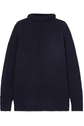 Joseph Sloppy Joe Cotton Blend Turtleneck Sweater Midnight Blue
