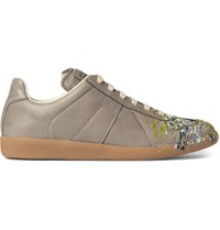 Maison Martin Margiela Replica Paint Splattered Leather Sneakers Gray