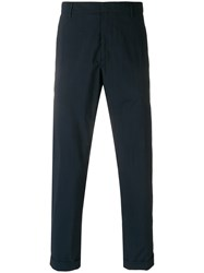 Paolo Pecora Cropped Turn Up Trousers Blue