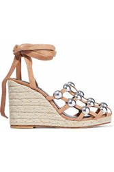 Alexander Wang Taylor Studded Suede Espadrille Wedge Sandals Sand