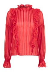 Topshop Stripe Ruffle Blouse Red