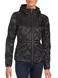 Quilted Long Sleeve Hooded Jacket Black