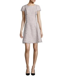 Eliza J Short Sleeve Fit And Flare Dress Grey Pink