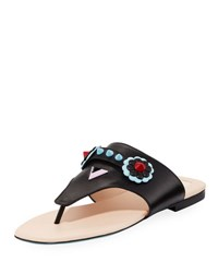 Fendi Studded Flat Leather Thong Sandal Black
