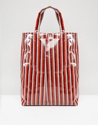 Weekday Limited Edition Vinyl Stripe Shopper Red Orange