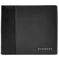 Burberry Two Tone Cross Grain Leather Wallet Black