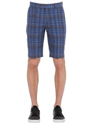 Brooks Brothers Plaid Linen Chino Shorts