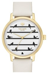 Women's Kate Spade New York 'Birds On A Wire Metro' Leather Strap Watch 34Mm