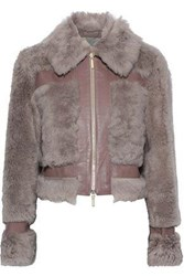 Zimmermann Woman Fleeting Leather Trimmed Shearling Jacket Taupe