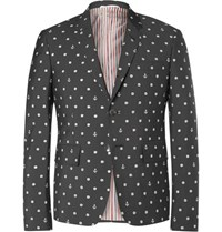 Thom Browne Grey Slim Fit Embroidered Wool And Mohair Blend Blazer Charcoal