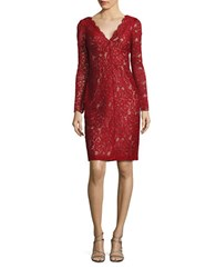 Vera Wang Long Sleeve V Neck Lace Overlay Dress Red Nude