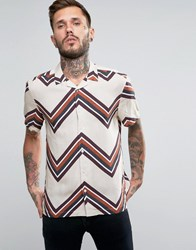Asos Viscose Shirt With Chevron Zig Zag Print And Revere Collar In Oversized Fit Beige