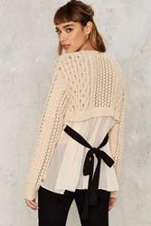 Take The Bait Cable Knit Sweater Beige