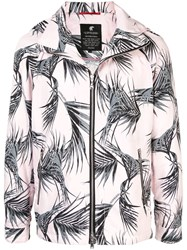 Loveless Leaf Print Jacket Pink