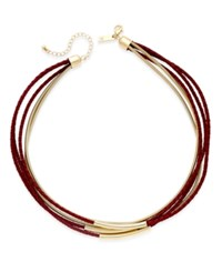 Inc International Concepts Gold Tone Leather And Coil Collar Necklace Only At Macy's Merlot
