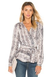 L'academie The Long Sleeve Wrap Blouse Gray