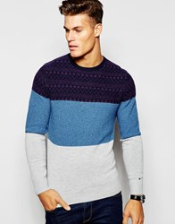 Tommy Hilfiger Jumper In Cable Knit And Crew Neck Navy