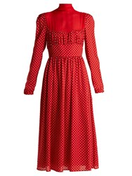 Valentino Polka Dot Silk Georgette Dress Red White