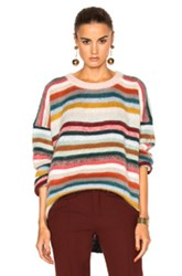 Chloe Brushed Mohair Sweater In Pink Blue Stripes Pink Blue Stripes