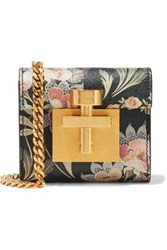 Oscar De La Renta Woman Micro Alibi Convertible Floral Print Textured Leather Shoulder Bag Black