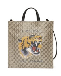 Gucci Tiger Face Soft Gg Supreme Tote Beige