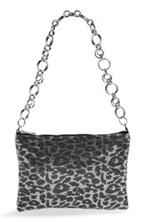 Topshop Leopard Spot Metallic Mesh Shoulder Bag Silver Multi