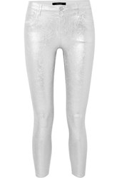 J Brand 835 Metallic Coated Cropped Mid Rise Skinny Jeans Silver