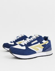 Hi Tec Silver Shadow Trainers In Navy And Gold