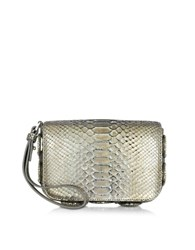 Roberto Cavalli Silver Laminated Python Pouch