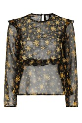 Topshop Star Embroidered Frill Blouse Black