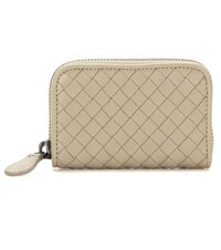 Bottega Veneta Intrecciato Leather Coin Wallet Grey