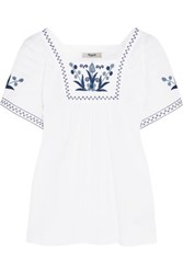 Madewell Embroidered Cotton Blend Blouse White