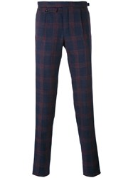 Incotex Plaid Tailored Trousers Men Silk Linen Flax Wool 56 Blue