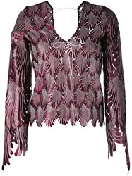 Marco De Vincenzo Feather Shaped Cut Blouse Women Polyester Viscose 44 Pink Purple