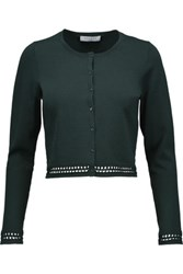 Sandro Glenrock Crochet Trimmed Stretch Knit Cardigan Emerald
