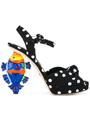 Dolce And Gabbana 'Kiera' Polka Dot Print Sandals Black