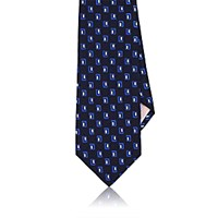 Fairfax Men's Rectangle Pattern Necktie Navy